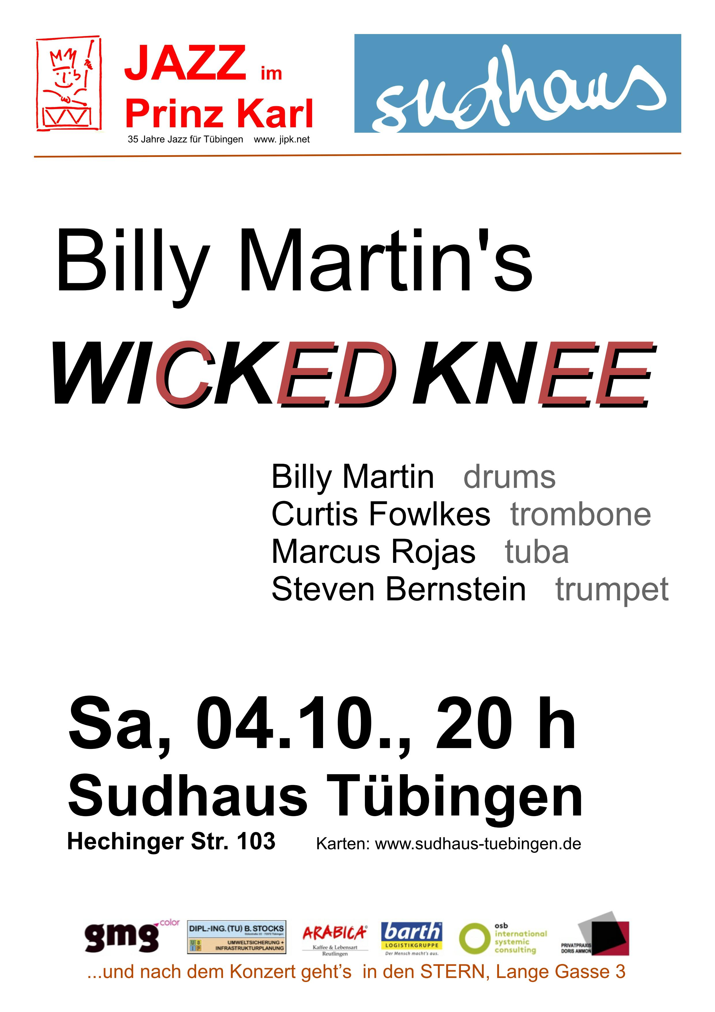 Jazz Konzert mit Billy Martins Wicked Knee